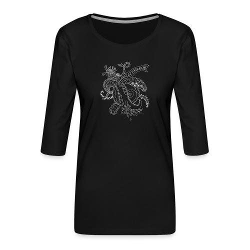 Fantasia valkoinen scribblesirii - Naisten premium 3/4-hihainen paita