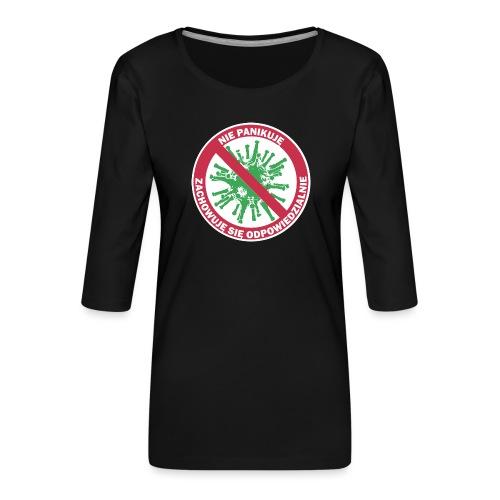 nie panikuje corona-virus - Koszulka damska Premium z rękawem 3/4