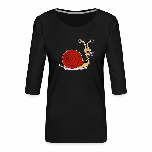 Escargot rigolo red version - T-shirt Premium manches 3/4 Femme