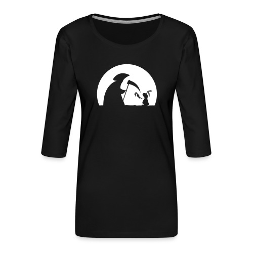 Hase Kaninchen Möhre Tod Sensenmann Karotte bunny - Frauen Premium 3/4-Arm Shirt