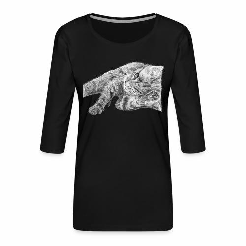 Petit chaton au crayon gris - T-shirt Premium manches 3/4 Femme
