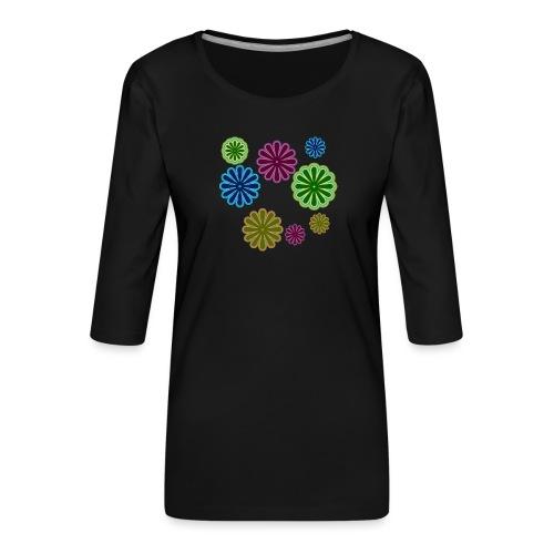 Lekfulla Blommor - Premium-T-shirt med 3/4-ärm dam
