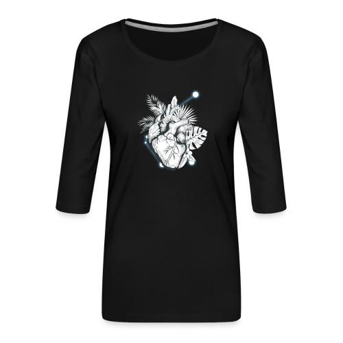 Cuore - Camiseta premium de manga 3/4 para mujer