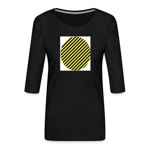 varninggulsvart - Premium-T-shirt med 3/4-ärm dam