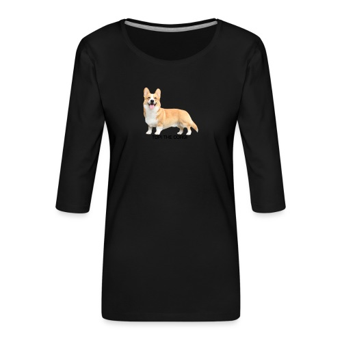 Topi the Corgi - Black text - Women's Premium 3/4-Sleeve T-Shirt