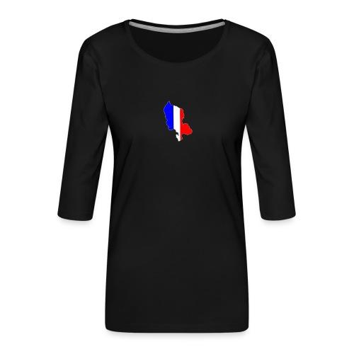 Carte Territoire de Belfort bleu blanc rouge - T-shirt Premium manches 3/4 Femme
