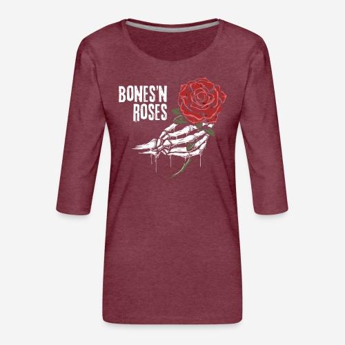 Schädelknochen Rosen - Frauen Premium 3/4-Arm Shirt