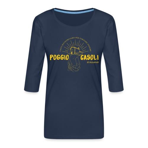 Poggio Casoli_Istituzionale_Giallo - Maglietta da donna premium con manica a 3/4