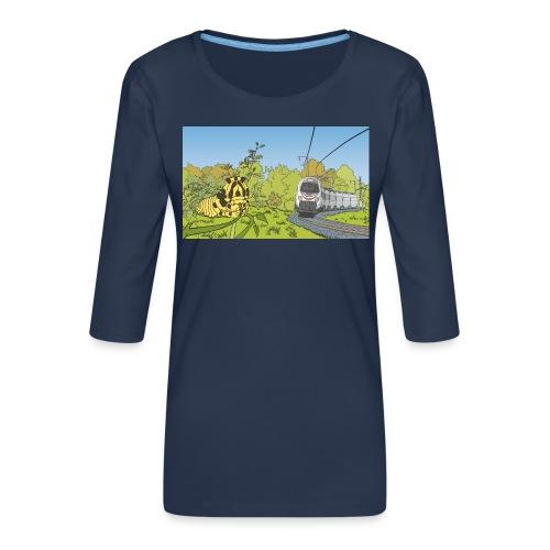 Raupe und Zug - Frauen Premium 3/4-Arm Shirt