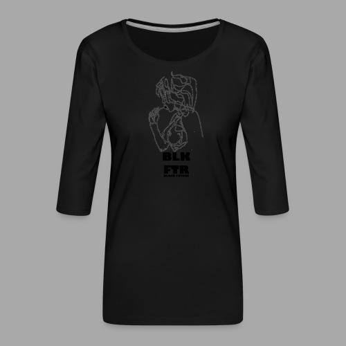 BLK FTR N°6 - Maglietta da donna premium con manica a 3/4