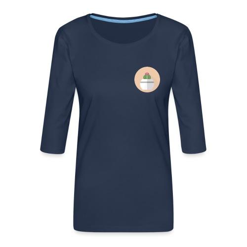 Flat Cactus Flower Round Potted Plant Motif - Women's Premium 3/4-Sleeve T-Shirt
