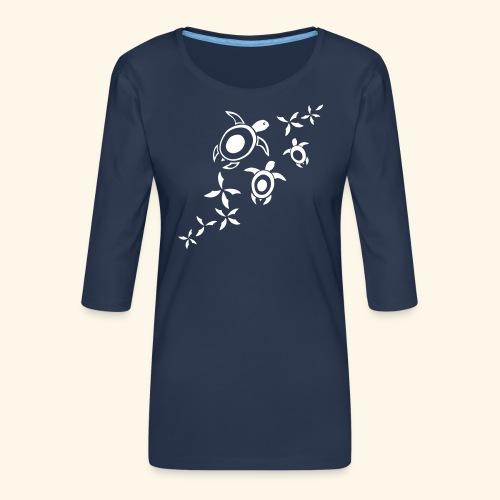 blumige Wasserschildis - Frauen Premium 3/4-Arm Shirt