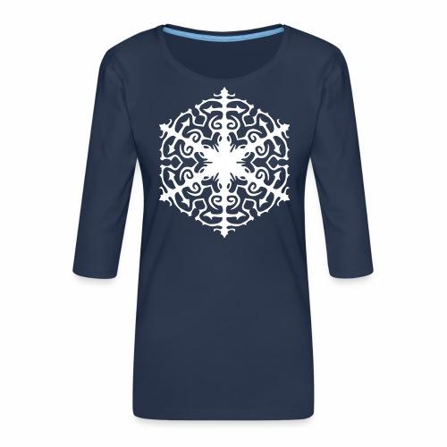 Schneeflocke Ornament Pixellamb - Frauen Premium 3/4-Arm Shirt