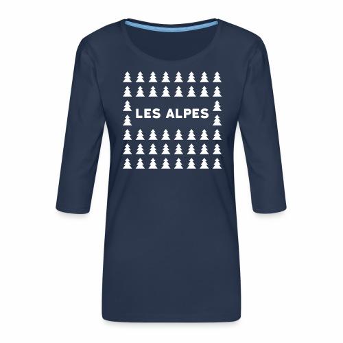 sapins les alpes - T-shirt Premium manches 3/4 Femme