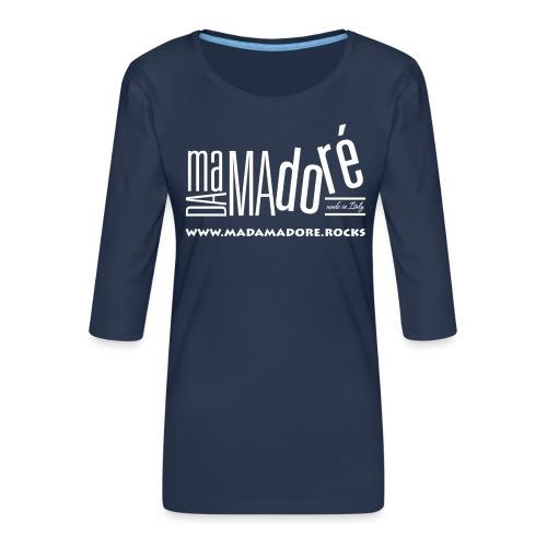 T-Shirt Premium - Donna - Logo Bianco + Sito - Maglietta da donna premium con manica a 3/4