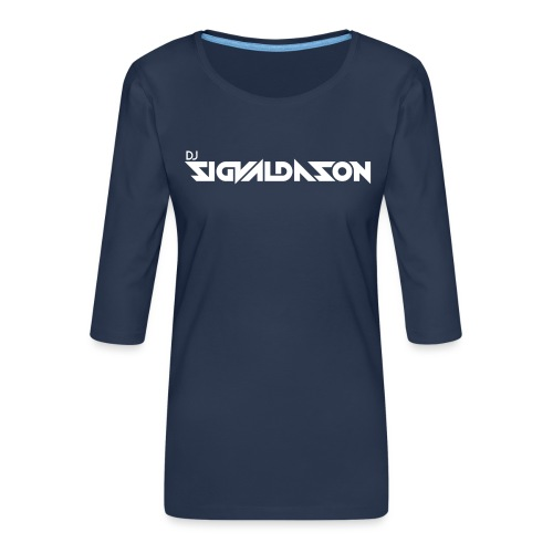 DJ logo hvid - Dame Premium shirt med 3/4-ærmer
