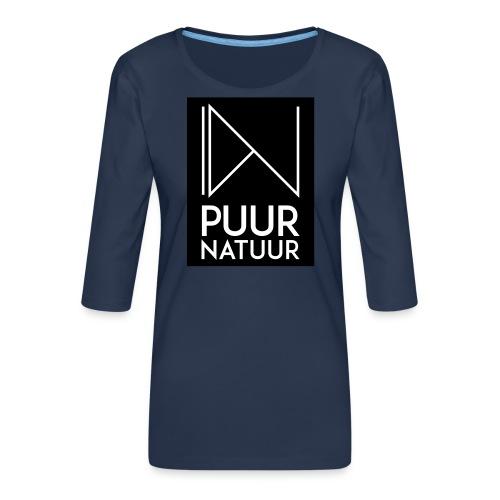 Logo puur natuur negatief - Vrouwen premium shirt 3/4-mouw