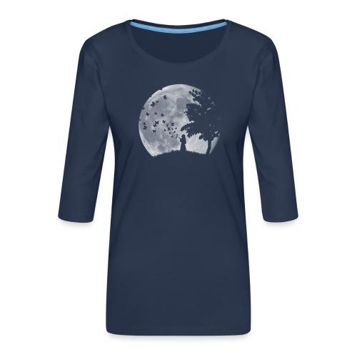 Lune Papillons Ombre - T-shirt Premium manches 3/4 Femme