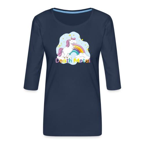 unicorn death metal - Vrouwen premium shirt 3/4-mouw