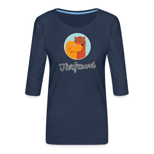 Tierfreund mit Schriftzug - Frauen Premium 3/4-Arm Shirt