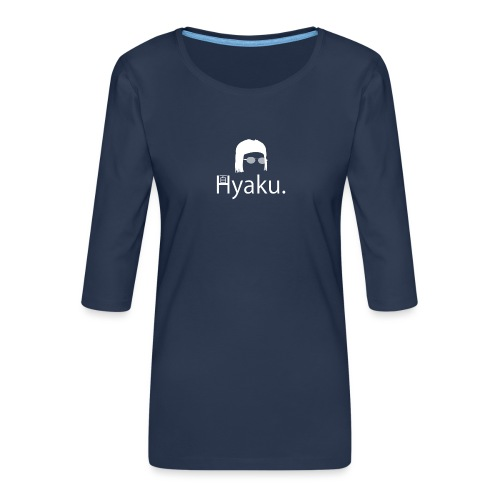 Hyaku White - Premium T-skjorte med 3/4 erme for kvinner