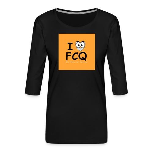 I Love FCQ button orange - Frauen Premium 3/4-Arm Shirt