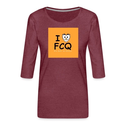 I Love FCQ button orange - Frauen Premium 3/4-Arm Shirt