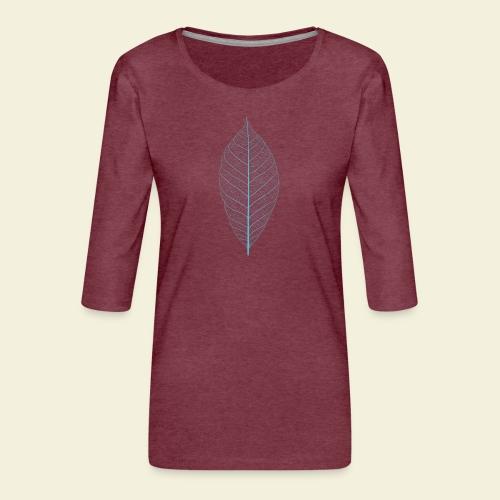 Feuille bleu Squelette - T-shirt Premium manches 3/4 Femme