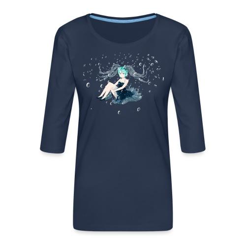 Water Miku O.C. - Maglietta da donna premium con manica a 3/4