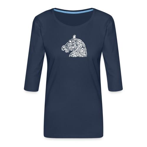 horse - cheval blanc - T-shirt Premium manches 3/4 Femme
