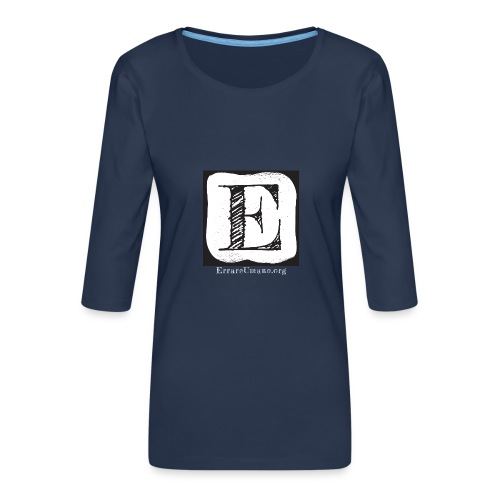 Logo ErrareUmano con scritta bianca - Maglietta da donna premium con manica a 3/4