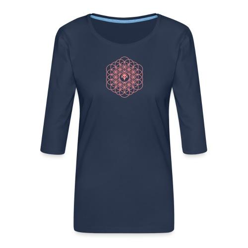 Blume des Lebens Pink - Frauen Premium 3/4-Arm Shirt