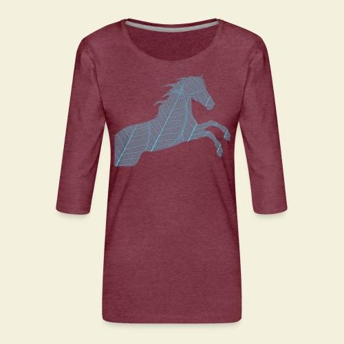 Cheval feuille - T-shirt Premium manches 3/4 Femme