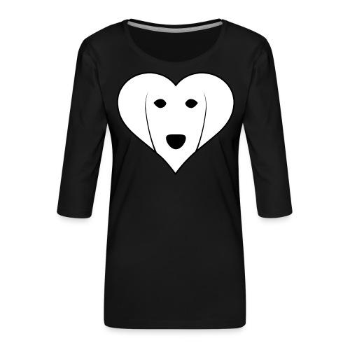 Saluki Heart - Maglietta da donna premium con manica a 3/4