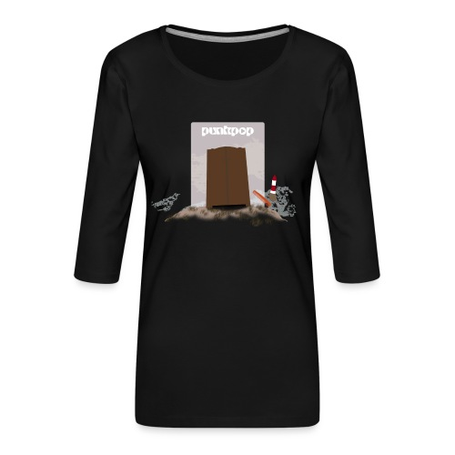Dark Close PunkPop - Maglietta da donna premium con manica a 3/4