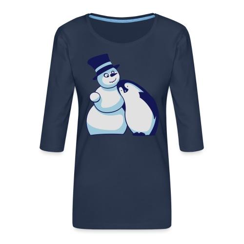 Schneemann und Pinguin - Frauen Premium 3/4-Arm Shirt