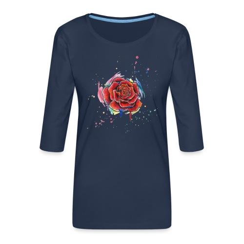 Rose Watercolors Nadia Luongo - Maglietta da donna premium con manica a 3/4