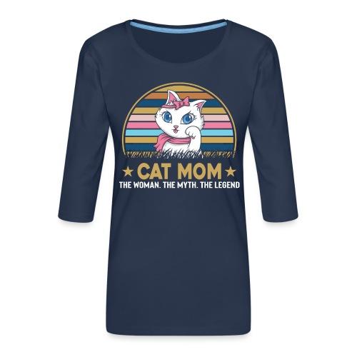 CAT MOM - T-shirt Premium manches 3/4 Femme