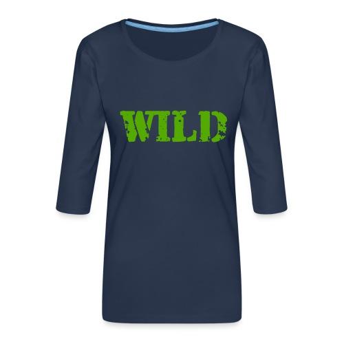 wild - Maglietta da donna premium con manica a 3/4