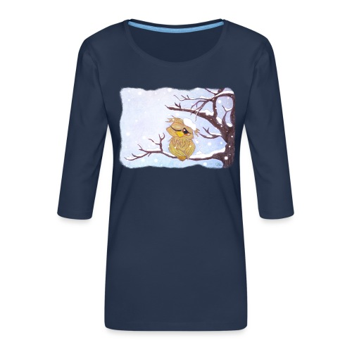 Kauz im Schnee - Frauen Premium 3/4-Arm Shirt