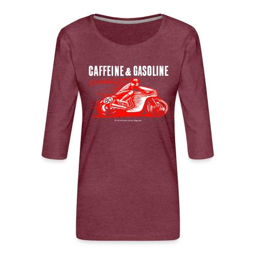 Caffeine & Gasoline white text - Women's Premium 3/4-Sleeve T-Shirt