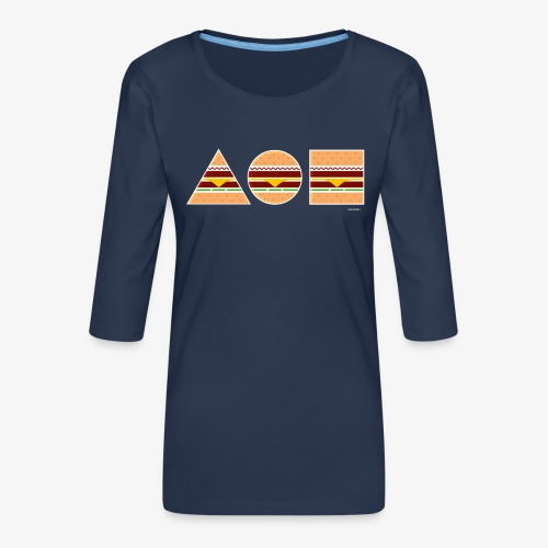 Graphic Burgers - Maglietta da donna premium con manica a 3/4