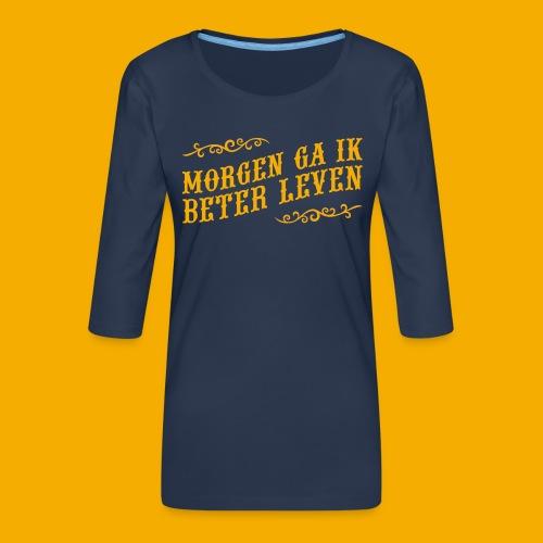 tshirt yllw 01 - Vrouwen premium shirt 3/4-mouw