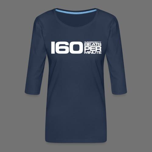160 BPM (białe długie) - Koszulka damska Premium z rękawem 3/4