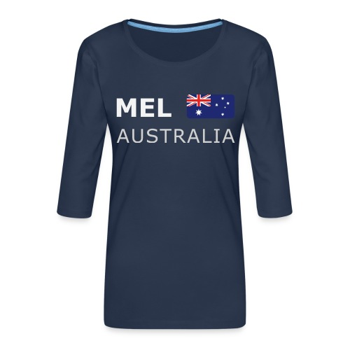 MEL AUSTRALIA white-lettered 400 dpi - Women's Premium 3/4-Sleeve T-Shirt