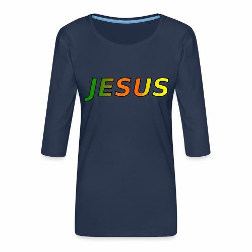 JESUS - grün/orange/gelb - Frauen Premium 3/4-Arm Shirt