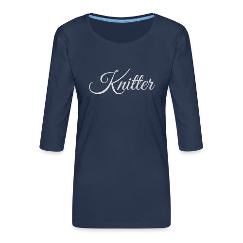 Knitter, light gray - Women's Premium 3/4-Sleeve T-Shirt