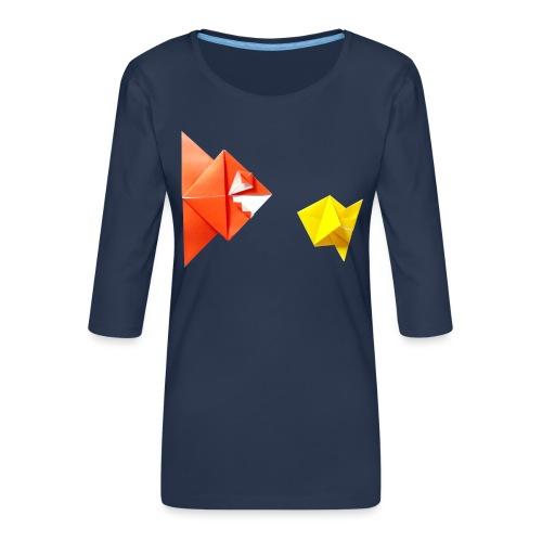 Origami Piranha and Fish - Fish - Pesce - Peixe - Women's Premium 3/4-Sleeve T-Shirt