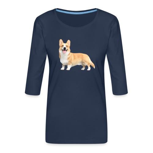 Topi the Corgi - Sideview - Women's Premium 3/4-Sleeve T-Shirt