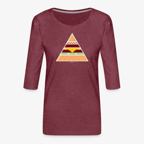 Triangle Burger - Maglietta da donna premium con manica a 3/4